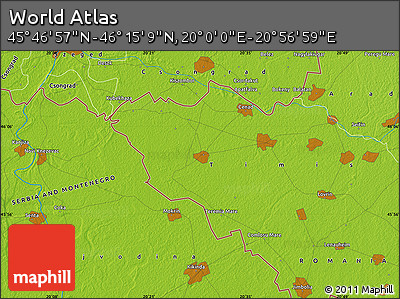"""Physical Map of the Area around 46°1'3""""N,20°28'30""""E"""
