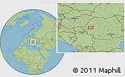 "Savanna Style Location Map of the area around 46°1'3""N,22°10'29""E"