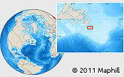 """Shaded Relief Location Map of the area around 46°1'3""""N,52°37'30""""W"""