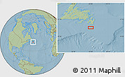 "Savanna Style Location Map of the area around 46° 1' 3"" N, 53° 28' 30"" W, hill shading"