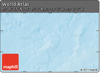 """Shaded Relief Map of the Area around 46°1'3""""N,53°28'30""""W"""