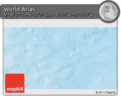 "Shaded Relief 3D Map of the Area around 46° 1' 3"" N, 54° 19' 30"" W"