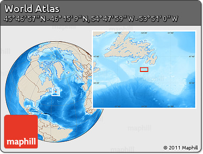 """Shaded Relief Location Map of the Area around 46°1'3""""N,54°19'30""""W"""