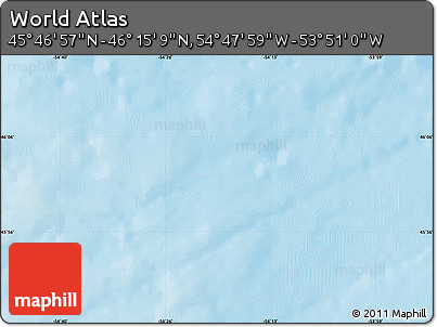 "Shaded Relief Map of the Area around 46° 1' 3"" N, 54° 19' 30"" W"
