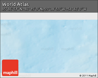 """Shaded Relief 3D Map of the Area around 46°1'3""""N,55°10'29""""W"""