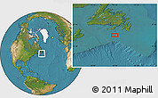 """Satellite Location Map of the area around 46°1'3""""N,55°10'29""""W"""