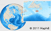 """Shaded Relief Location Map of the area around 46°1'3""""N,55°10'29""""W"""