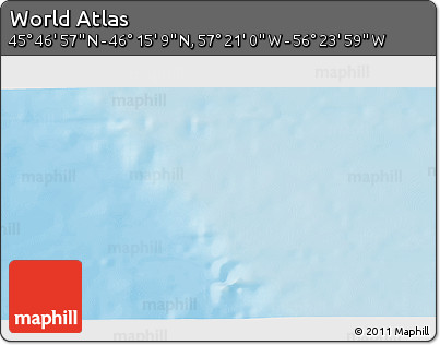 """Shaded Relief 3D Map of the Area around 46°1'3""""N,56°52'30""""W"""