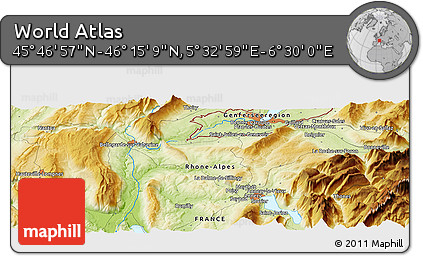 """Physical Panoramic Map of the Area around 46°1'3""""N,6°1'30""""E"""