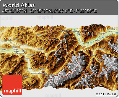 """Physical 3D Map of the Area around 46°1'3""""N,6°52'30""""E"""