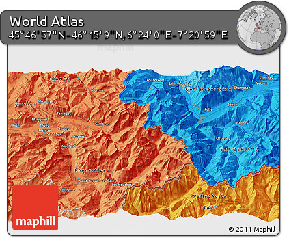 """Political 3D Map of the Area around 46°1'3""""N,6°52'30""""E"""