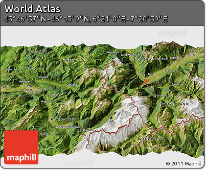"""Satellite 3D Map of the Area around 46°1'3""""N,6°52'30""""E"""