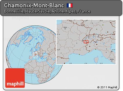 Free Gray Location Map of ChamonixMontBlanc