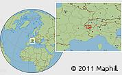 "Savanna Style Location Map of the area around 46°1'3""N,6°52'30""E"