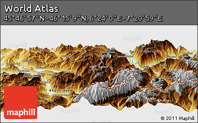 """Physical Panoramic Map of the Area around 46°1'3""""N,6°52'30""""E"""