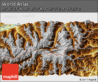 """Physical 3D Map of the Area around 46°1'3""""N,7°43'29""""E"""