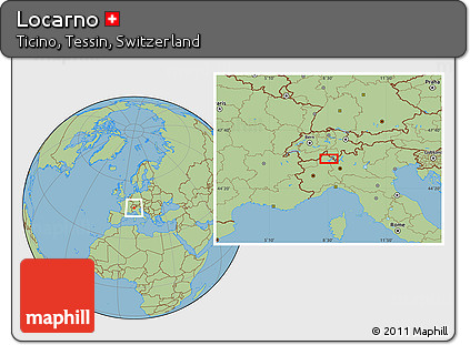Free Savanna Style Location Map of Locarno