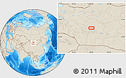 """Shaded Relief Location Map of the area around 46°1'3""""N,98°40'30""""E"""
