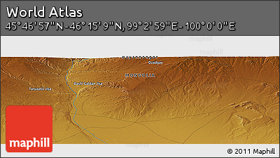 "Physical Panoramic Map of the Area around 46° 1' 3"" N, 99° 31' 30"" E"