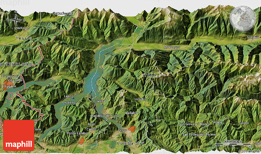 Satellite 3D Map of Bellinzona