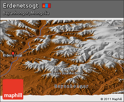 Physical Panoramic Map of Erdenetsogt
