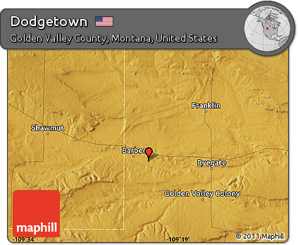 Free Physical Map Of Dodgetown - Montana physical map united states