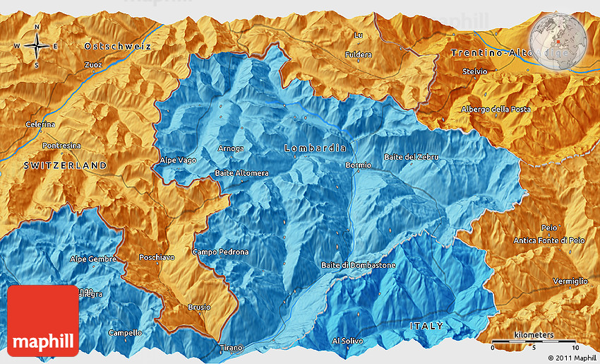 Political 3D Map of Livigno