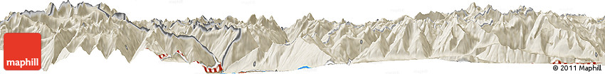 """Shaded Relief Horizon Map of the Area around 46° 26' 14"""" N, 10° 16' 30"""" E"""