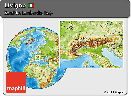 Free Physical Location Map of Livigno