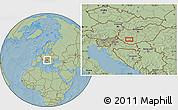 Savanna Style Location Map of Kaposvár, hill shading