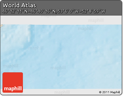 """Shaded Relief 3D Map of the Area around 46°26'14""""N,52°37'30""""W"""