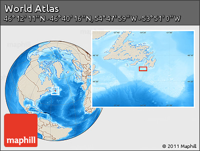 """Shaded Relief Location Map of the Area around 46°26'14""""N,54°19'30""""W"""
