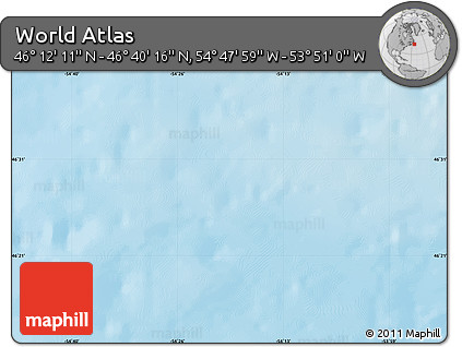 """Shaded Relief Map of the Area around 46°26'14""""N,54°19'30""""W"""