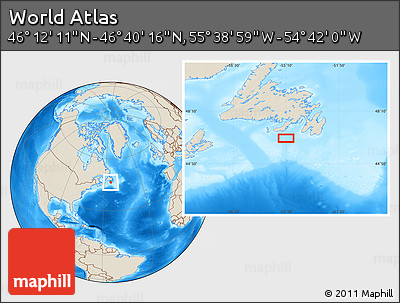 """Shaded Relief Location Map of the Area around 46°26'14""""N,55°10'29""""W"""