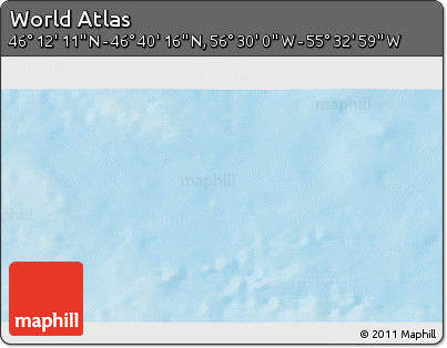 """Shaded Relief 3D Map of the Area around 46°26'14""""N,56°1'29""""W"""