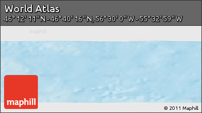 """Physical Panoramic Map of the Area around 46°26'14""""N,56°1'29""""W"""