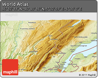 """Physical 3D Map of the Area around 46°26'14""""N,6°1'30""""E"""