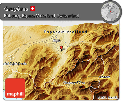 Physical 3D Map of Gruyères