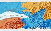 Political 3D Map of Vevey