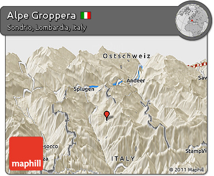 Free Shaded Relief Panoramic Map of Alpe Groppera