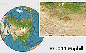 """Satellite Location Map of the area around 46°51'18""""N,100°22'30""""E"""