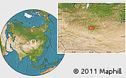 """Satellite Location Map of the area around 46°51'18""""N,101°13'29""""E"""