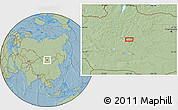 """Savanna Style Location Map of the area around 46°51'18""""N,101°13'29""""E, hill shading"""