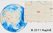 """Shaded Relief Location Map of the area around 46°51'18""""N,101°13'29""""E"""