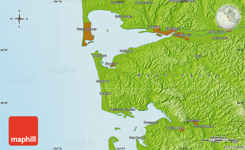 Physical Map of Grays Harbor City