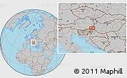 Gray Location Map of Murska Sobota