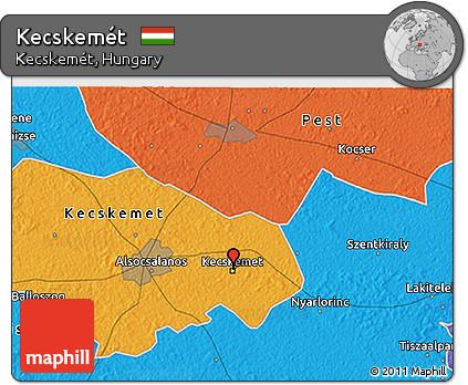 Free Political 3D Map of Kecskemt