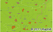 Physical Map of Békéscsaba