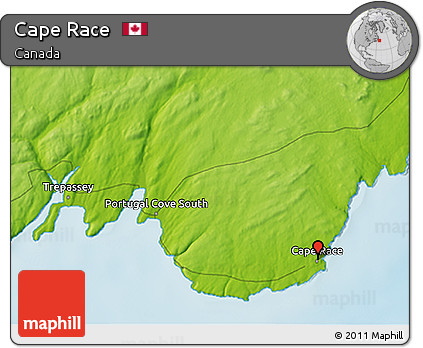 Free Physical 3D Map of Cape Race