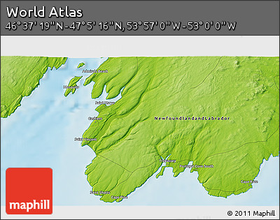 """Physical 3D Map of the Area around 46°51'18""""N,53°28'30""""W"""